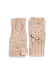 Calvin Klein Fuzzy Knit Fingerless Convertible Mittens Blush