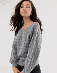 Abercrombie And Fitch High Neck Knit Jumper In Grey Heather