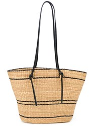 Muun Contrasting Detail Beach Tote Women Straw One Size Nude Neutrals