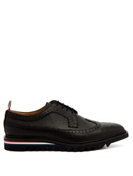 Thom Browne Longwing Stacked Sole Pebbled Leather Brogues Black