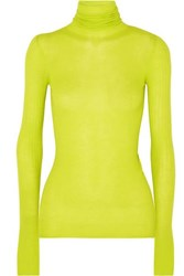 Joseph Neon Ribbed Cashmere Turtleneck Sweater Green