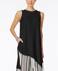 Cable And Gauge Asymmetrical Tunic Top Jet Black
