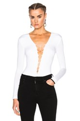 Alexander Wang T By Modal Spandex Lace Up Bodysuit In White
