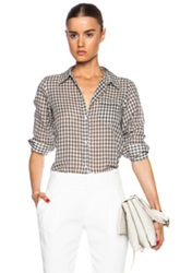 Nili Lotan Nl Cotton Shirt In Black White Checkered And Plaid