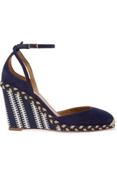 Aquazzura Cape Town Suede And Canvas Wedge Espadrilles Navy