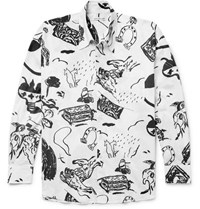 Our Legacy Borrowed Oversized Printed Cotton Voile Shirt White