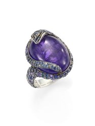 John Hardy Legends Cobra Batu Diamond Tanzanite Blue Sapphire And Sterling Silver Oval Ring Tanzanite Lava