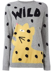 Chinti And Parker Wild Leopard Jumper Grey