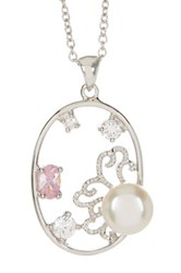 Fancy Multicolor Cz And Cultured Freshwater Pearl Oval Pendant Necklace White