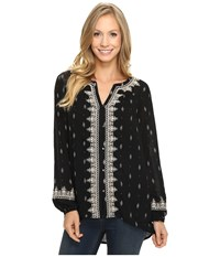 Lucky Brand Ditsy Embroidered Top Black Multi Women's Clothing