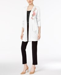 Joseph A Floral Embroidered Duster Cardigan Bright White
