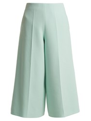 Delpozo Cropped Wide Leg Wool Trousers Light Blue