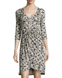 Three Dots Three Quarter Sleeve Faux Wrap Dress Black White