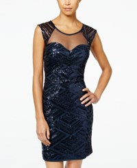 Sequin Hearts Juniors' Bodycon Sequins On Mesh Dress Navy