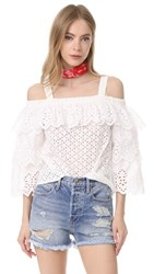 Endless Rose Cold Shoulder Top With Tiered Sleeves Off White