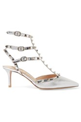 Valentino Garavani The Rockstud Mirrored And Metallic Textured Leather Pumps Silver