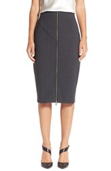 Petite Women's Halogen Zip Front Pinstripe Pencil Skirt