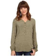 Burton Waterbury Woven Shirt Vetiver Hatch Print Women's Long Sleeve Button Up Green