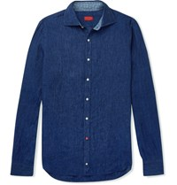 Isaia Slim Fit Linen Chambray Shirt Blue