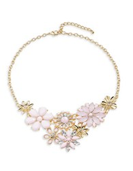 Design Lab Lord And Taylor Crystal Flower Bib Necklace Pink