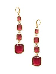 Rivka Friedman Rubellite Crystal Drop Earrings Gold