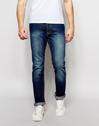 Bellfield Straight Leg Jeans With Heavy Rinse Wash Blue