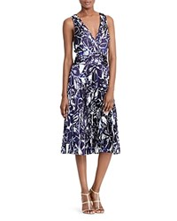 Ralph Lauren Abstract Floral Print Pleated Satin Dress Navy Ivory