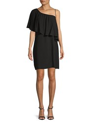 Ella Moss Asymmetrical Neckline Shift Dress Black
