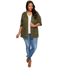 Lucky Brand Plus Size Soft Military Jacket Military Olive Women's Coat