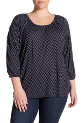 Chelsea And Theodore Printed 3 4 Sleeve Shirt Plus Size Multi
