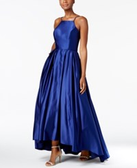 Betsy And Adam High Low Satin Gown Royal