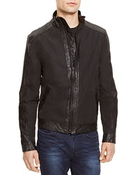 Kenneth Cole Faux Leather Trimmed Jacket Black