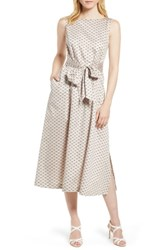 Anne Klein Carlyle Dot Midi Cotton Dress Oyster Shell Combo