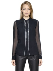 Diesel Black Gold Studded Techno Chiffon Shirt Black