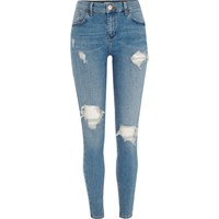 River Island Womens Blue Amelie Ripped Super Skinny Jeans