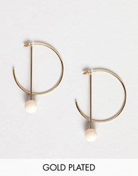 Pilgrim Gold Plated Hoop Earrings With Bar Drop