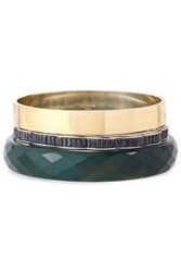 Iosselliani Woman Set Of Three Gold Tone Agate And Crystal Bangles Forest Green