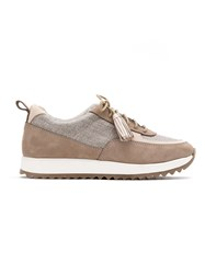 Sarah Chofakian Leather Lace Up Sneakers Neutrals