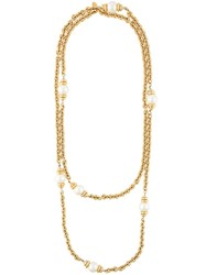 Chanel Vintage Pearl Filigree Necklace Metallic