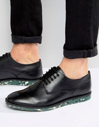 Asos Derby Shoe In Black Leather With Camo Sole Black