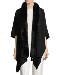 Sofia Cashmere Blend Sequin Ruana Wrap W Fur Trim Black