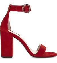 Maje Faria Suede Heeled Sandals Rouge