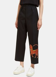 Gucci Tiger Embroidered Wide Leg Cropped Pants Black