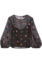 Saloni Thea Embellished Silk Organza Blouse Black