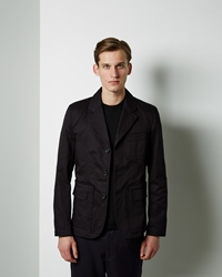 Comme Des Garcons Cotton Gabardine Workstitch Jacket Navy