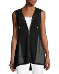 Neiman Marcus High Low Zip Front Hooded Vest Black