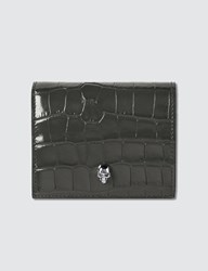 Alexander Mcqueen Extra Shiny Croc Embossed Folded Wallet Black