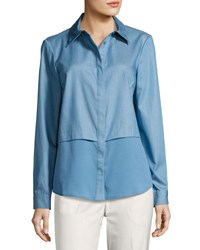 Tahari By Arthur S. Levine Shirting Blouse W Crepe De Chine Underlay Blue