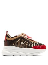 Versace Chain Reaction Animal Pattern Trainers Black Red