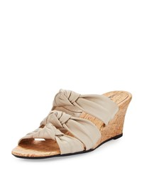 Neiman Marcus Marcela Knotted Leather Wedge Sandal Ecru